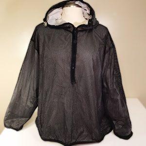 Lane Bryant black mesh pullover windbreaker, 26/28